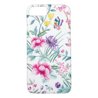 Vintage Flower Garden Rainbow Butterfly  white iPhone 8/7 Case