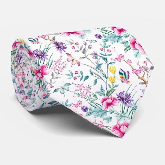 Vintage Flower Garden Rainbow Butterfly white Tie