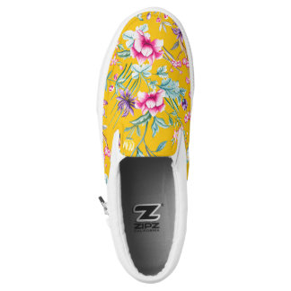 Vintage Flower Garden Rainbow Butterfly YELLOW Slip On Shoes
