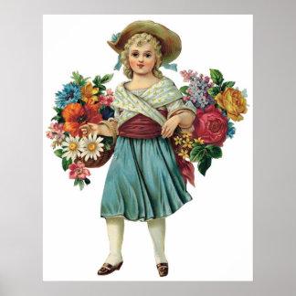 Vintage Flower Girl Customizable Poster