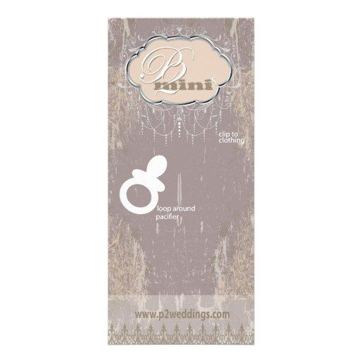 Vintage Flower Girl Pacifier Display Card Personalized Rack Card