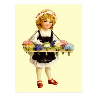 Vintage Flower Girl Postcard