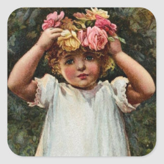 Vintage Flower Girl Wearing Wreath Square Sticker
