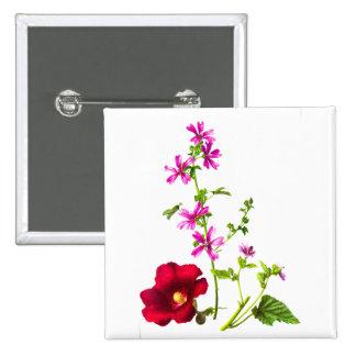 Vintage Flower Illustration, Floral Drawing Buttons