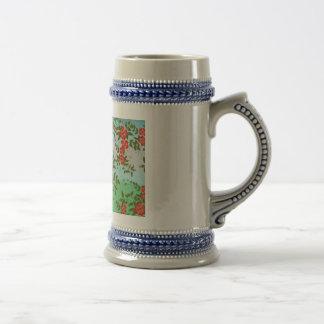 Vintage Flower 18 Oz Beer Stein