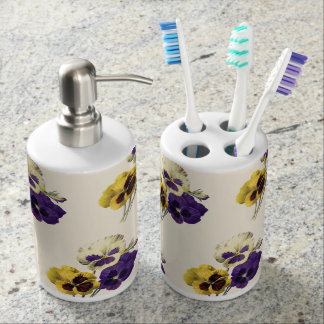 Vintage Flower Pansy Toothbrush Holder