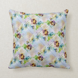 Vintage flower postcard pansy throw pillow