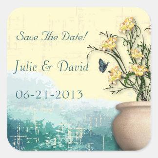 Vintage Flower Pot & Butterfly Save The Date Sticker