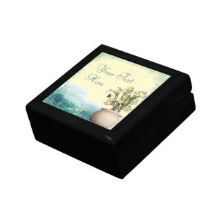 Vintage Flower Pot & Butterfly Wedding Small Square Gift Box