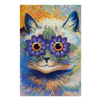 Vintage Flower Power Cat Art Poster Print