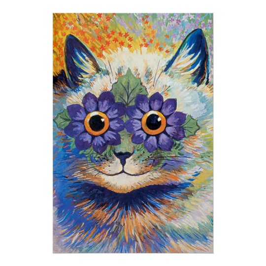 Vintage Flower Power Cat Art Poster Print