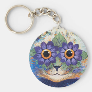 Vintage Flower Power Hippie Cat Key Chain