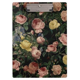 Vintage Flower Roses and Iris Pattern-Dark Dreams Clipboard