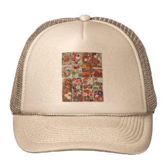 Vintage Flower Seed Packets Garden Collage Mesh Hats