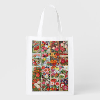 Vintage Flower Seed Packets Garden Collage Reusable Grocery Bag