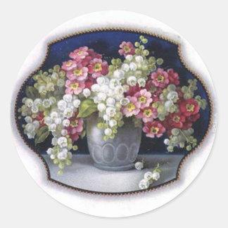 Vintage Flower Vase Round Sticker