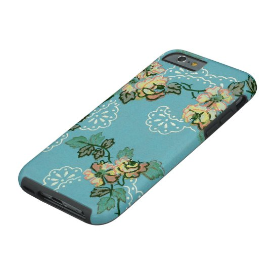 Vintage Flower Wallpaper Teal Floral Pattern Tough iPhone 6 Case