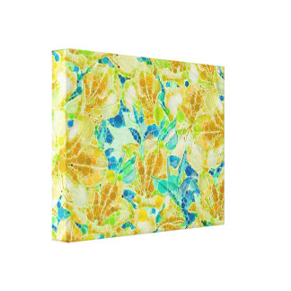 Vintage Flowers Abstract Pattern Gallery Wrap Canvas