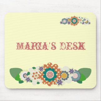 Vintage Flowers !! Add Your NAME !! Mouse Mat