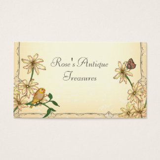 Vintage Flowers and Bird Business Card