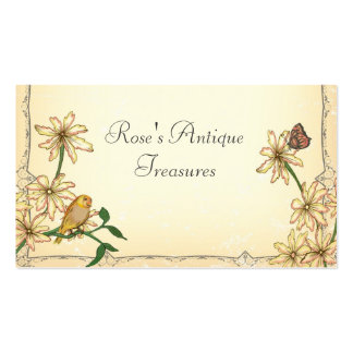 Vintage Flowers and Bird Business Cards
