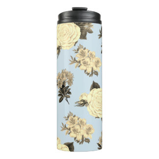 Vintage Flowers and Blue Thermal Tumbler