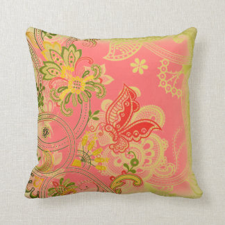Vintage Flowers and Butterfly American MoJo Pillow Cushion