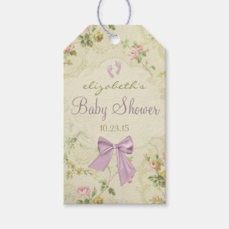 Vintage Flowers and Lavender Bow Baby Shower