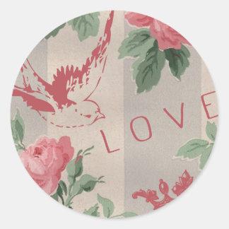 Vintage Flowers and Pink Birds Round Sticker
