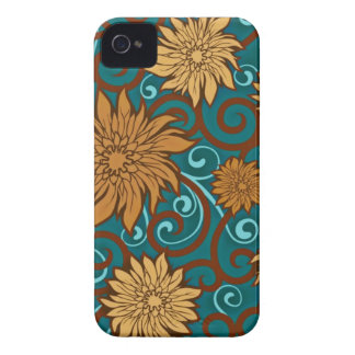 Vintage Flowers and Turquoise Swirls Case-Mate iPhone 4 Cases