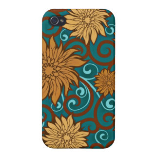Vintage Flowers and Turquoise Swirls iPhone 4 Covers