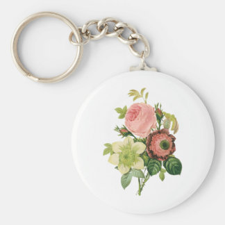 Vintage Flowers, Anemone Roses Clematis by Redoute Basic Round Button Key Ring