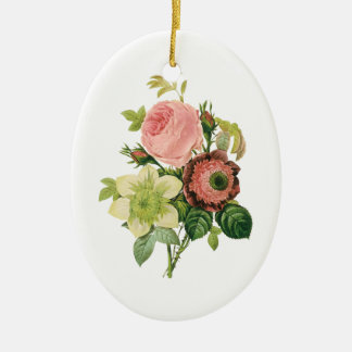 Vintage Flowers, Anemone Roses Clematis by Redoute Ceramic Oval Decoration