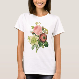 Vintage Flowers, Anemone Roses Clematis by Redoute T-Shirt
