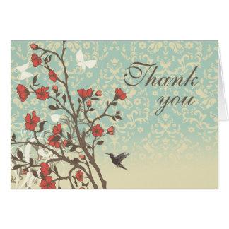 Vintage flowers bird + damask wedding thank you note card