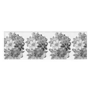 Decorative flowers name tags badges zazzle vintage flowers black white print name tag mightylinksfo
