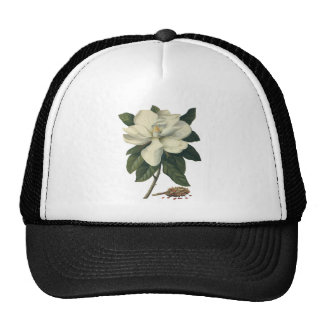 Vintage Flowers, Blooming White Magnolia Blossom Mesh Hat