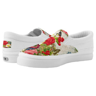Vintage Flowers & Butterflies Slip On Shoes Printed Shoes