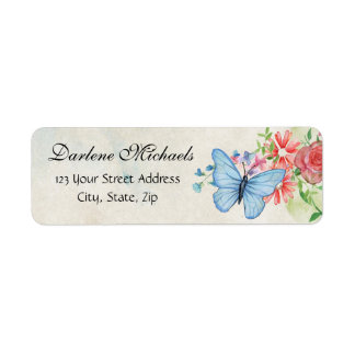 Vintage Flowers Butterfly Garden Nature Floral