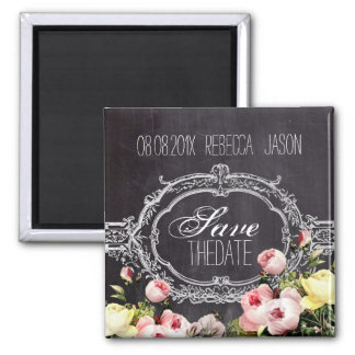 vintage flowers Chalkboard wedding save the date Magnets