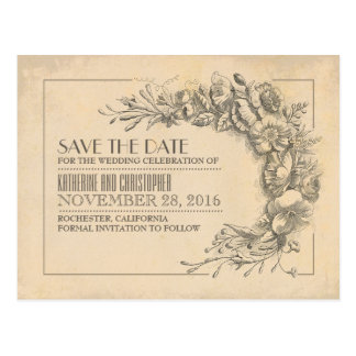 Vintage flowers chic old save the date postcards