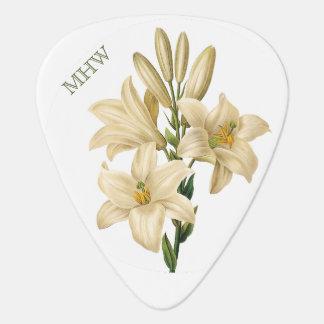 Vintage Flowers custom monogram guitar pick 1