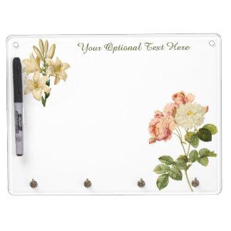 Vintage Flowers custom monogram message board 6 Dry-Erase Board