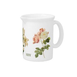 Vintage Flowers custom monogram pitcher