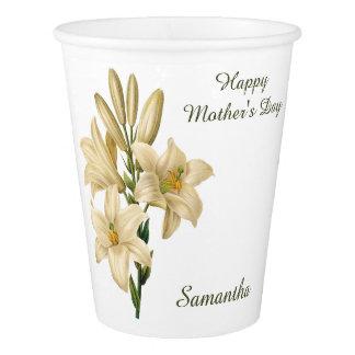 Vintage Flowers custom text paper cups 1