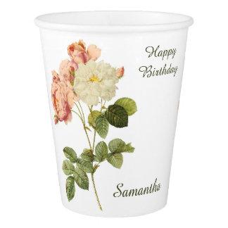 Vintage Flowers custom text paper cups 2