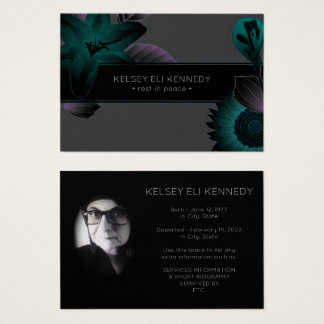 vintage flowers elegant funeral business card