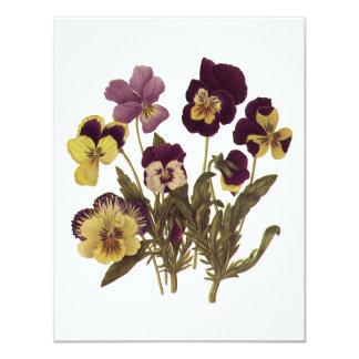 Vintage Flowers, Floral Garden Pansies in Bloom 4.25x5.5 Paper Invitation Card