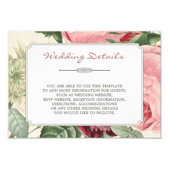 Vintage Flowers Frame Wedding Details Information Card