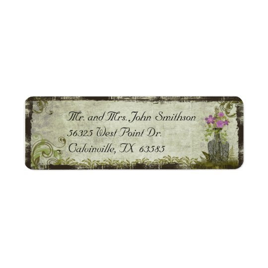 Vintage Flowers in a Bottle Return Address Label
